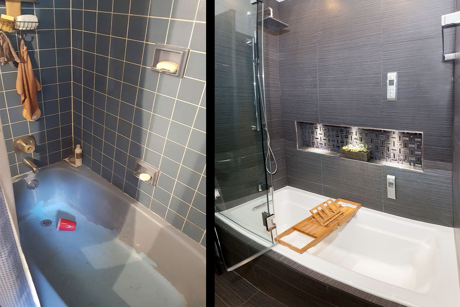 Before after bath remodel