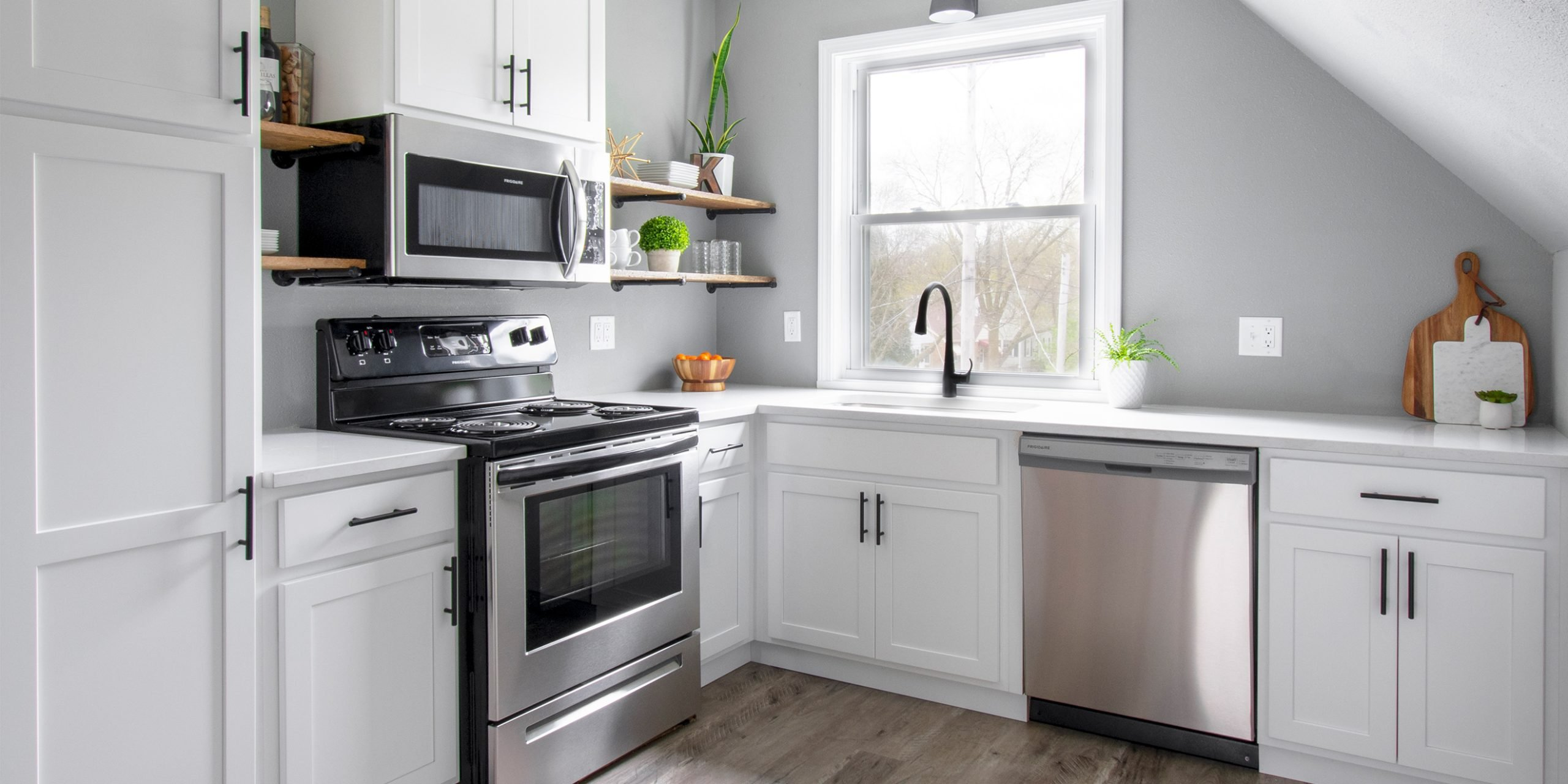 Wauwatosa White shaker cabinets with open shelves and matte black hardware