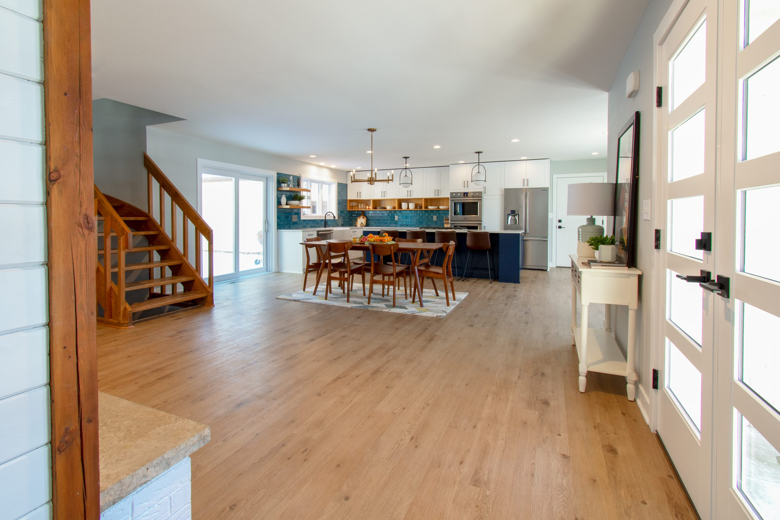 Open concept kitchen with navy island