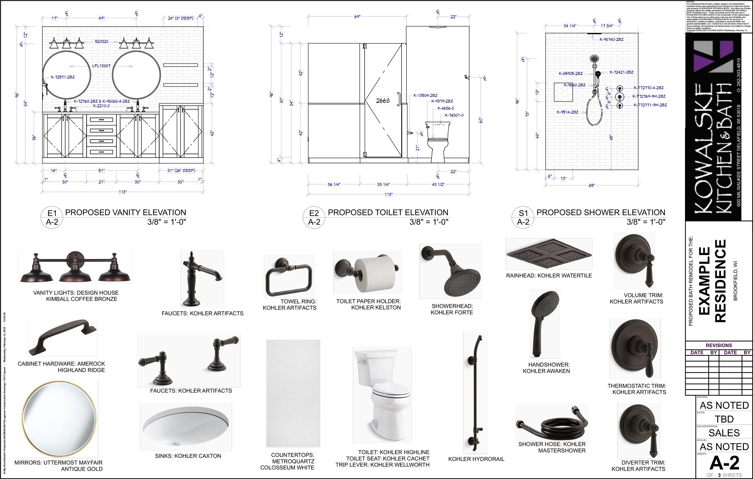 Master bathroom construction drawing, material selection