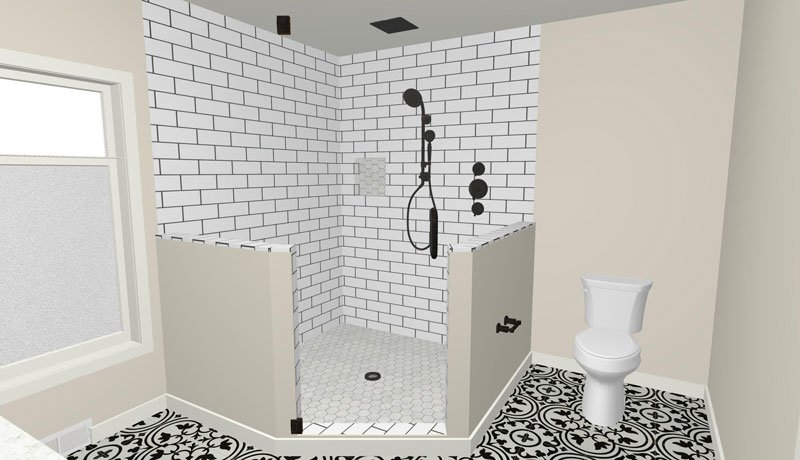 Master bathroom glass shower with subway tile 3D rendering