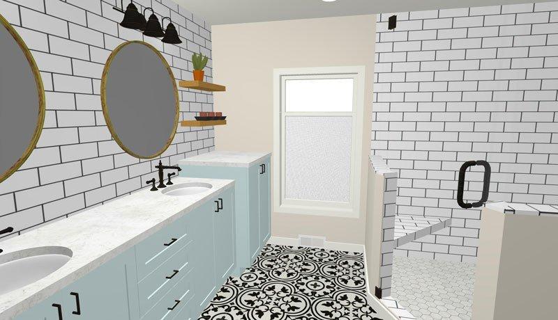 Master bathroom vanity with aqua cabinets 3D rendering