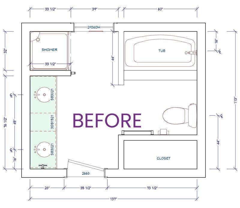 Floor plan master bathroom existing
