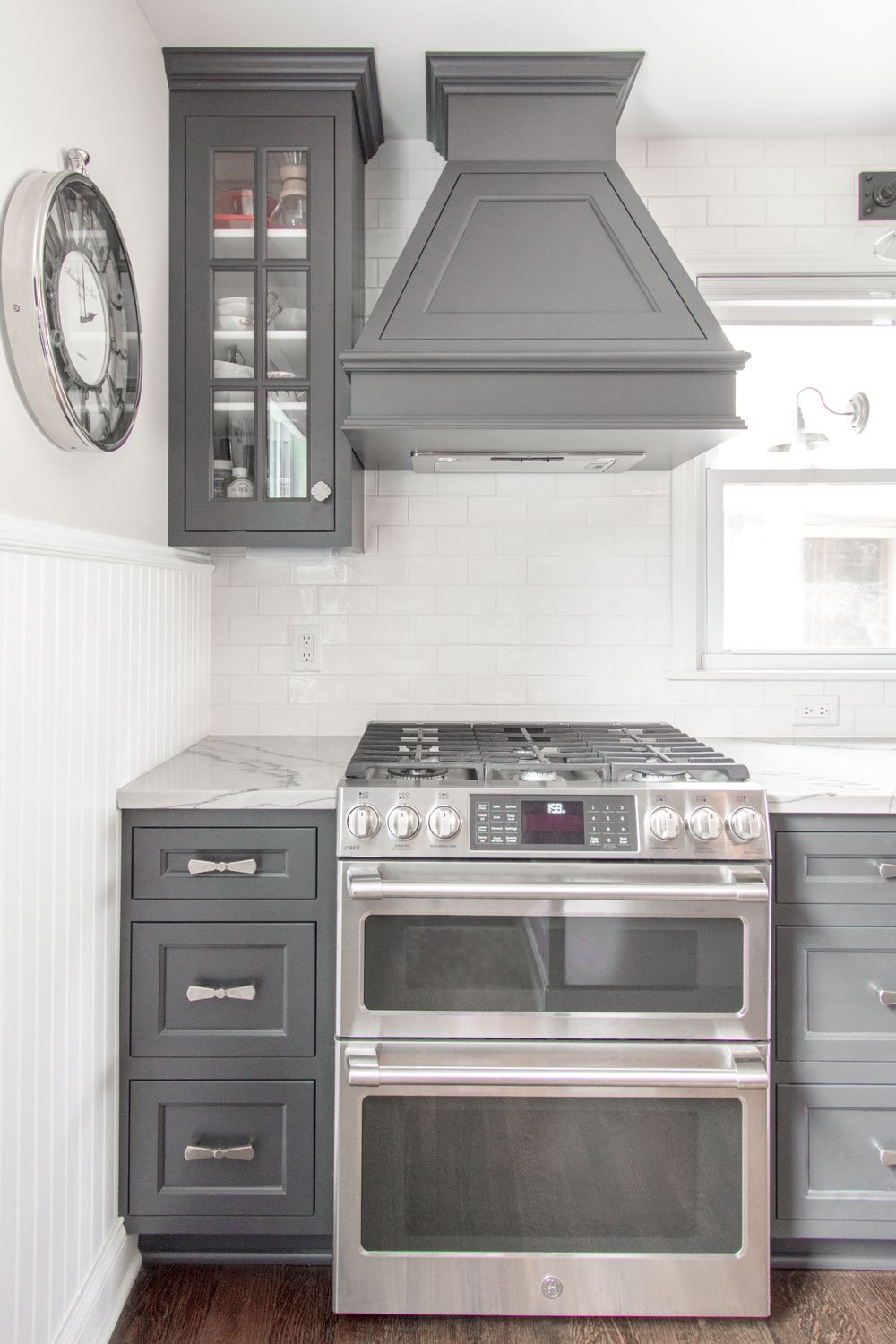 Custom gray inset cabinet kitchen remodel