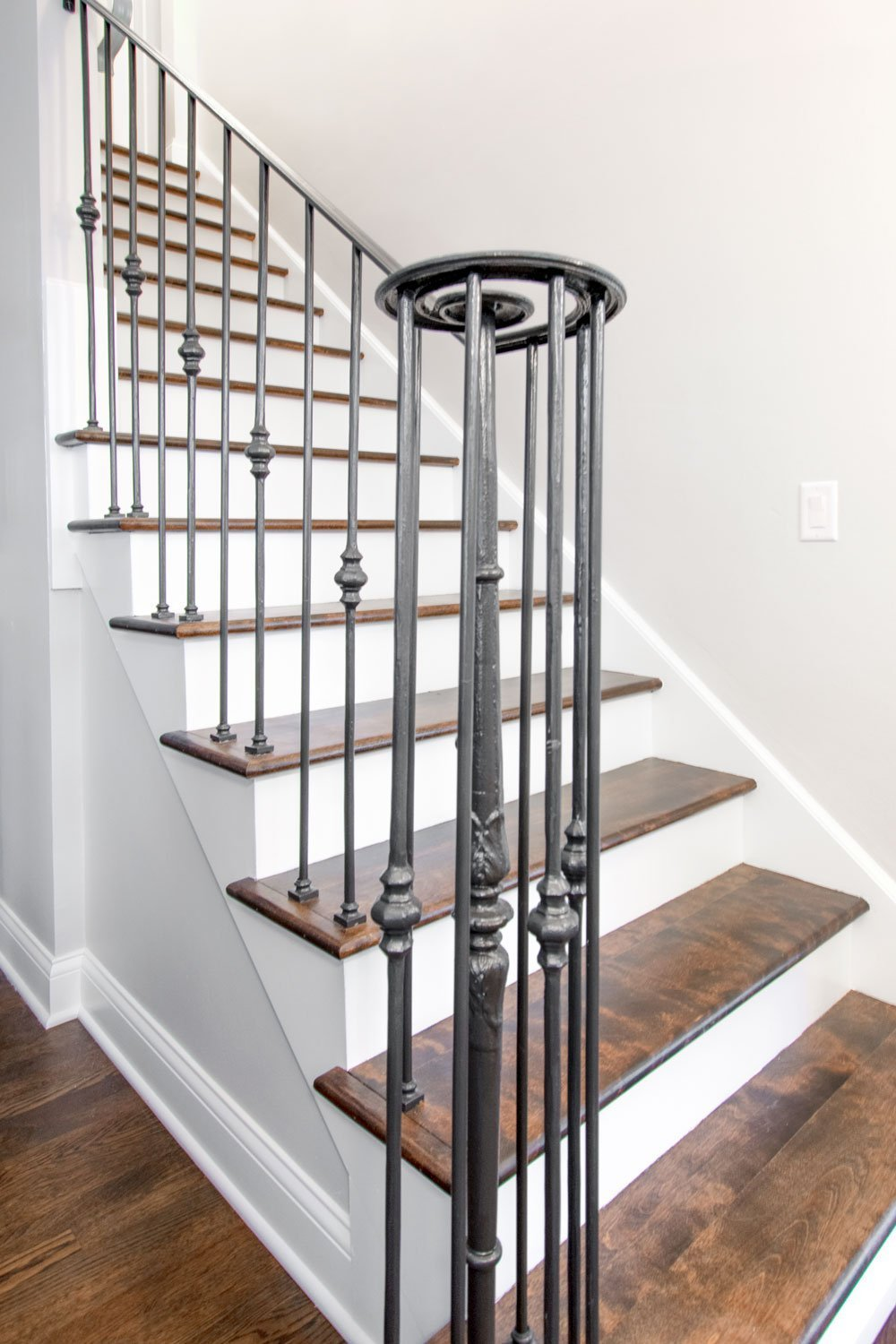 Delafield staircase with wood treads and white risers