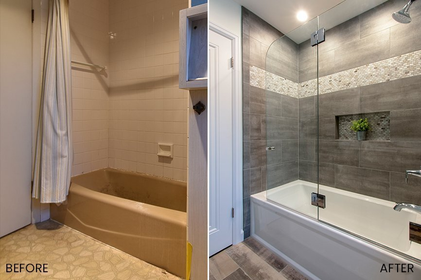 Before bathroom remodel and after renovation with new bathtub, tile and glass shower door