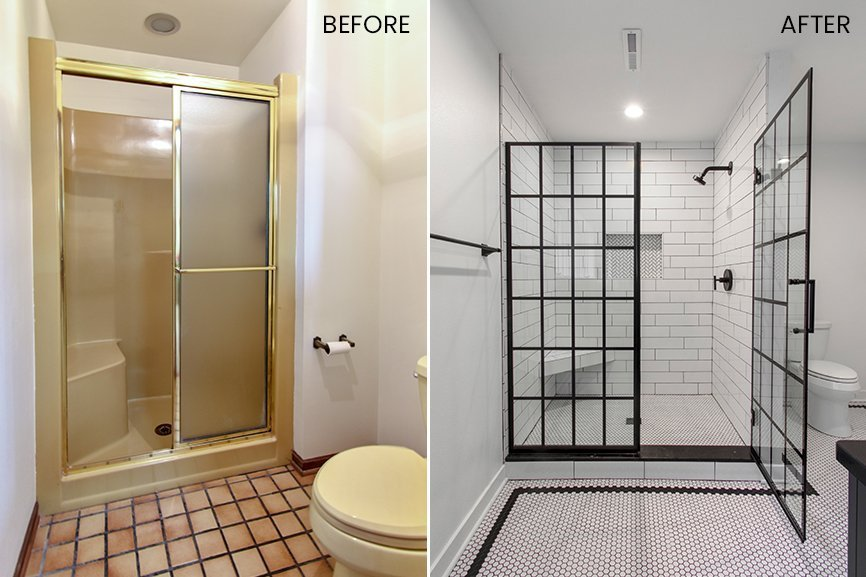 Before bathroom remodel gold trim and outdated brown tile and after black steel glass shower door with subway tile