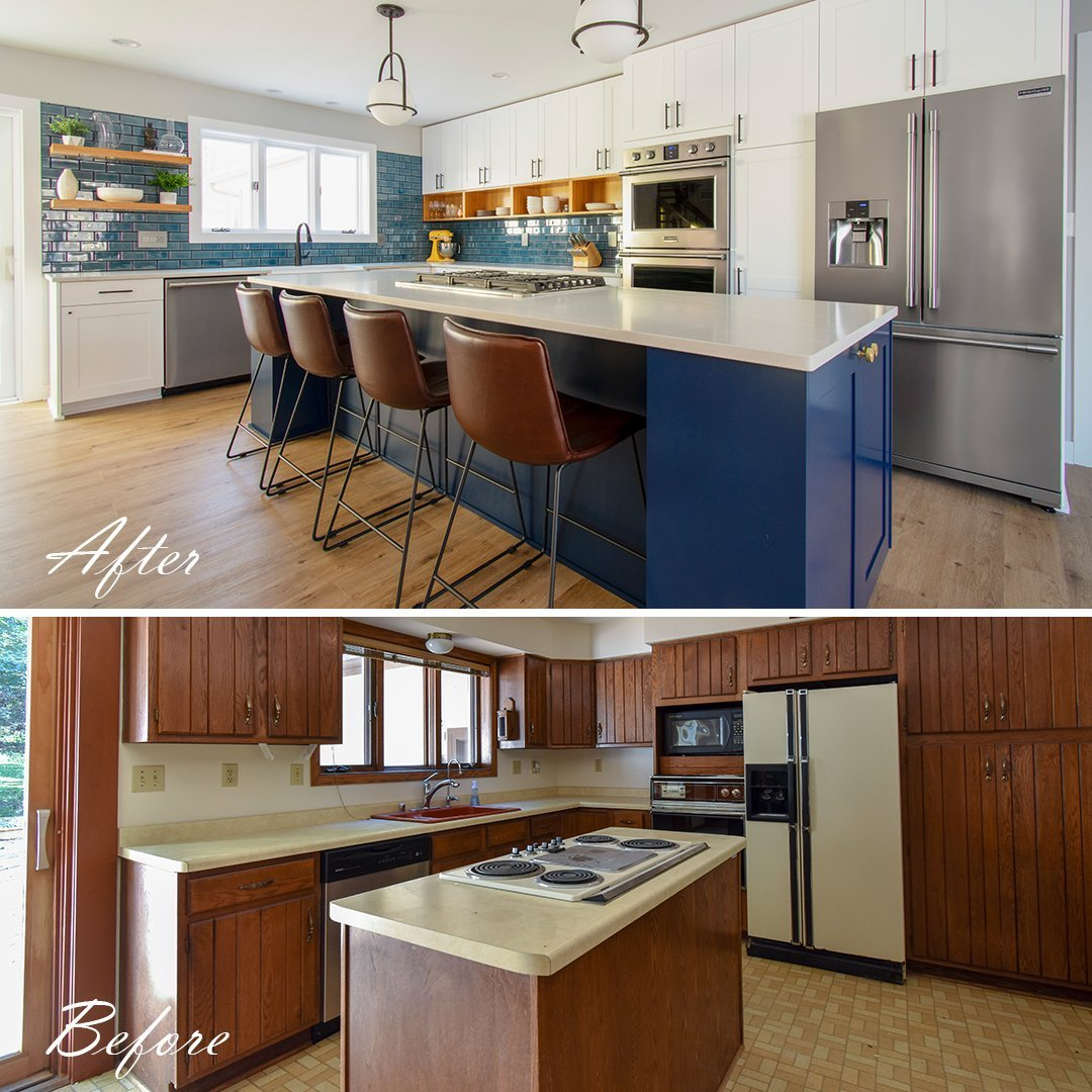 Before and after kitchen with navy island