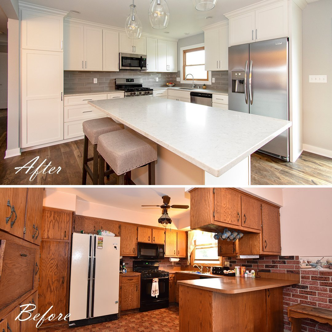 White kitchen before and after renovation