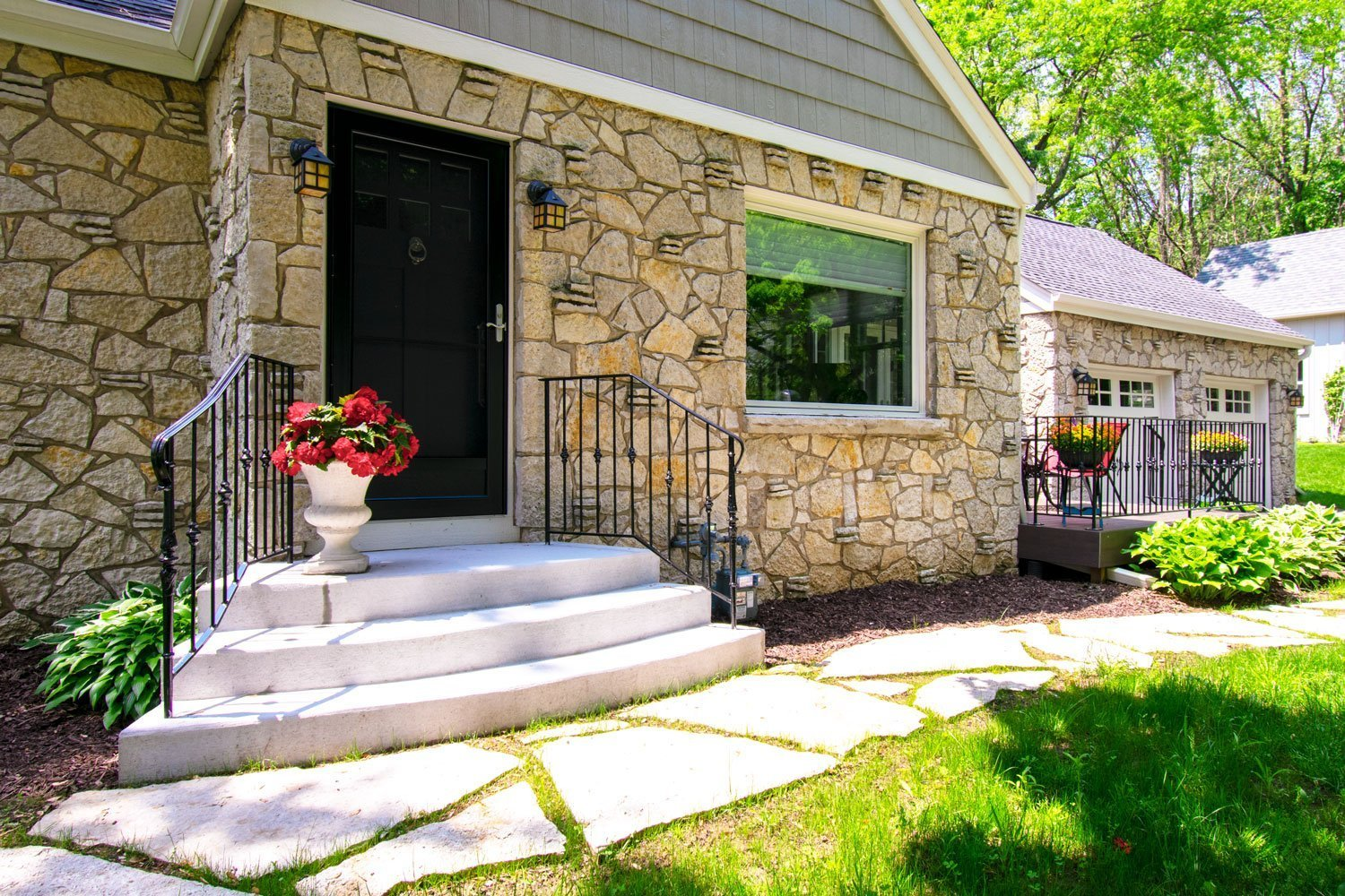 Delafield lannon stone cottage front door and stair replacement exterior renovation