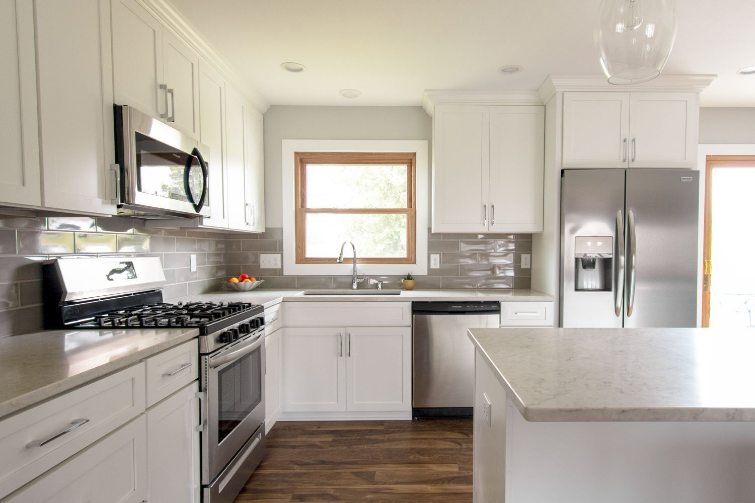 Hartland gray subway tile backsplash