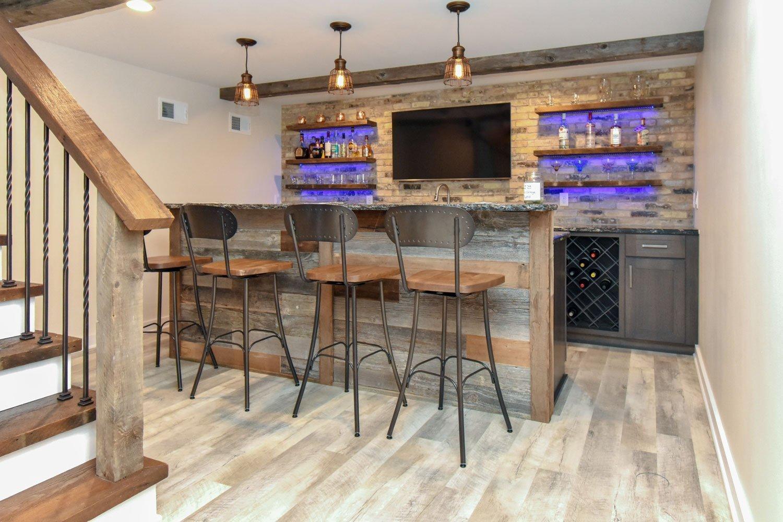 Basement bar remodel with LED under shelf lighting