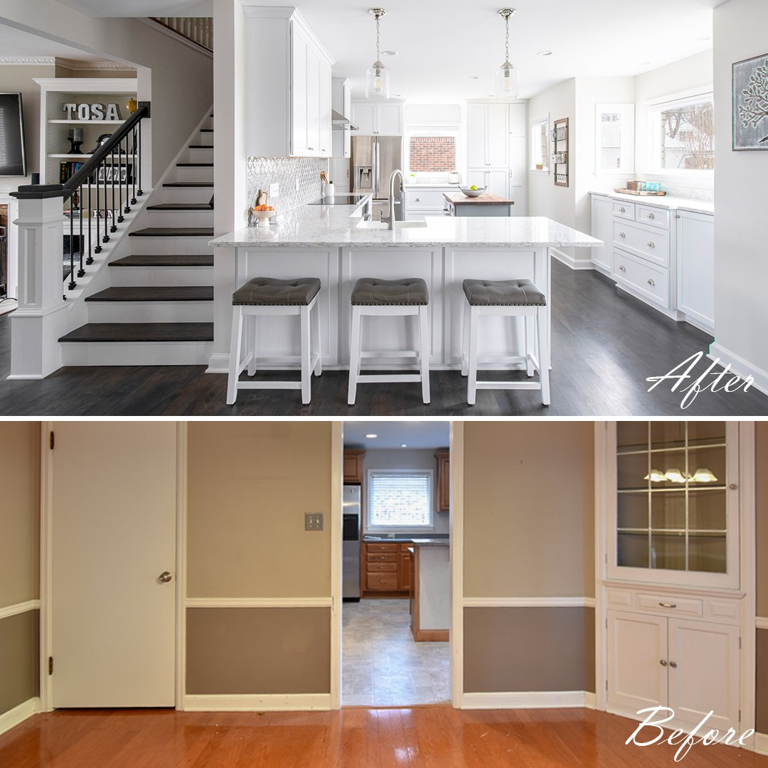 Before & after white kitchen with open staircase
