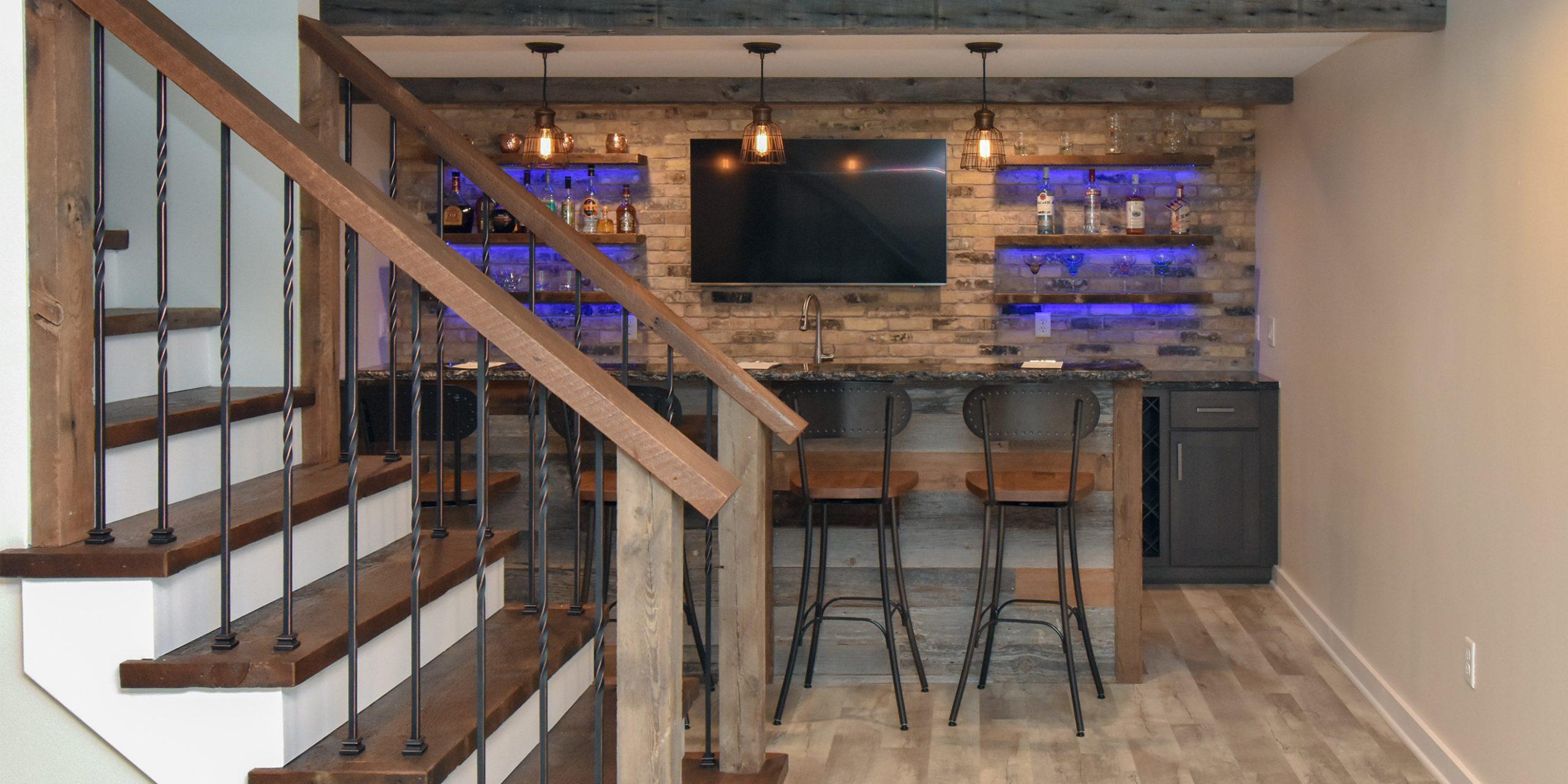Mequon Swanky Barnwood Basement Bar