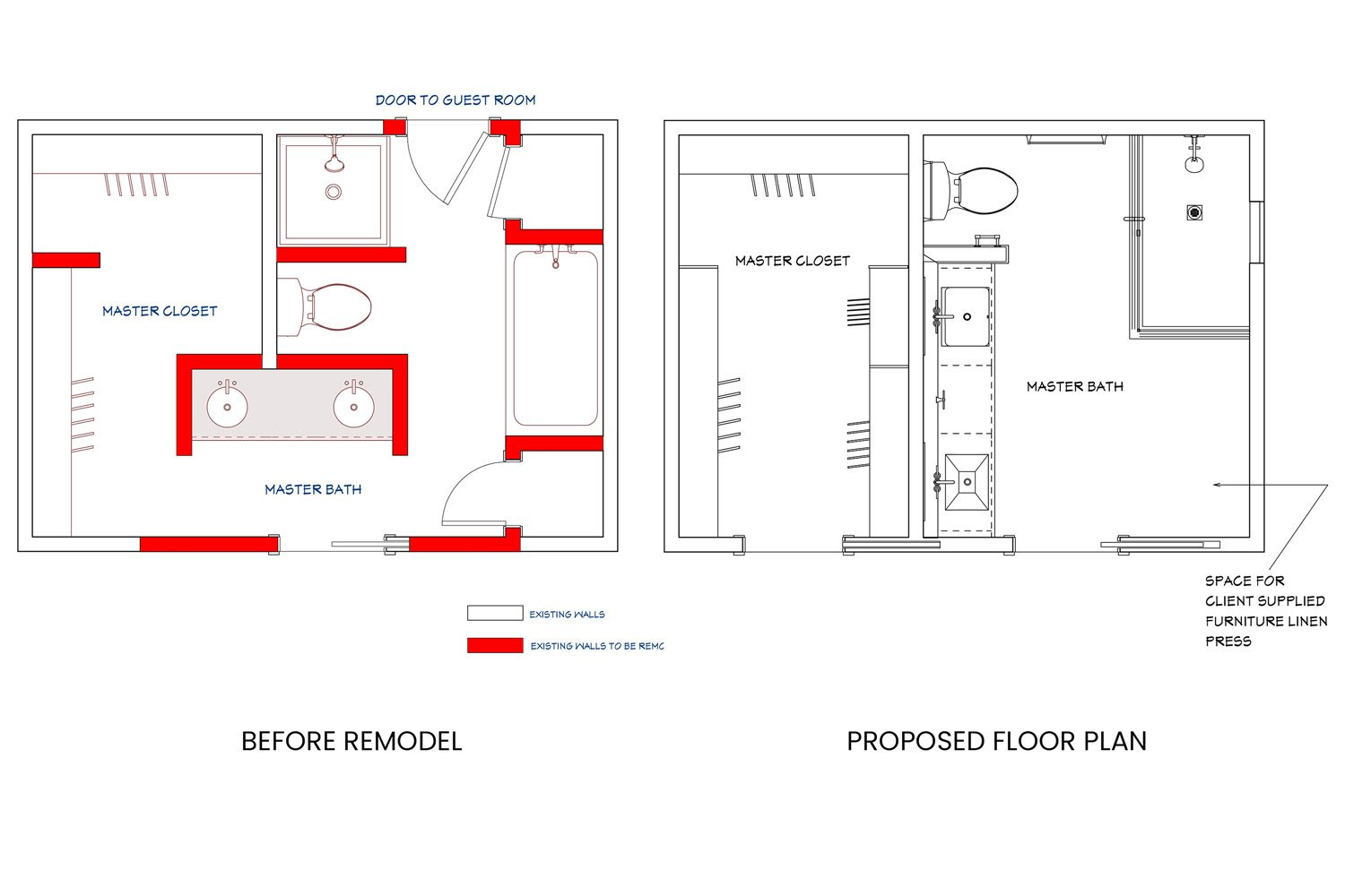 Delafield master bath before and proposed floor plan