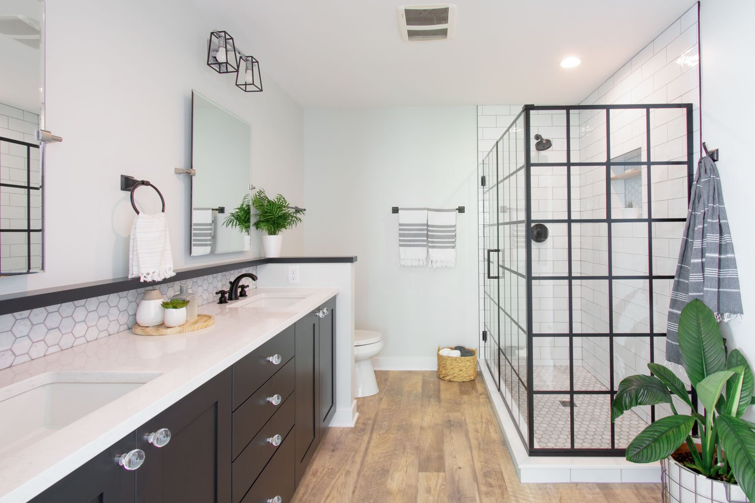 Delafield Black and White Bathroom with dreamline shower door