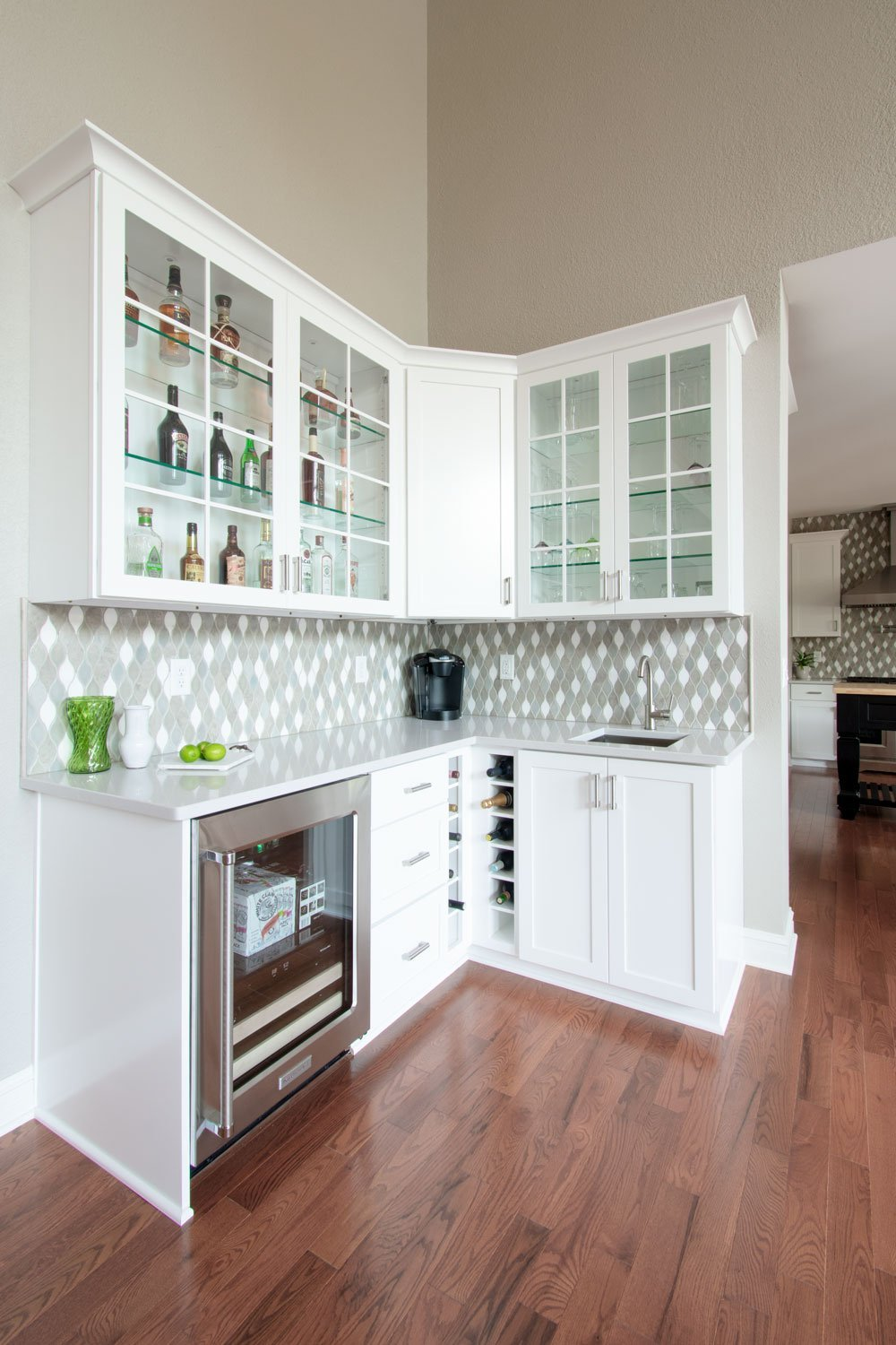 Wine fridge and coffee beverage station kitchen remodel