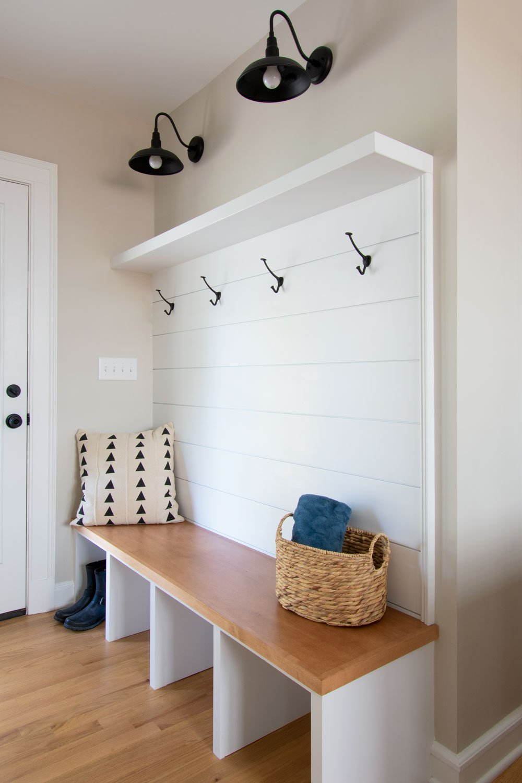 Boot bench storage by garage door entry
