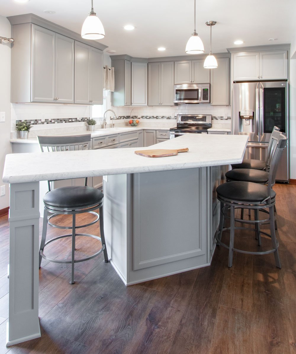 gray cabinets with laminate counters