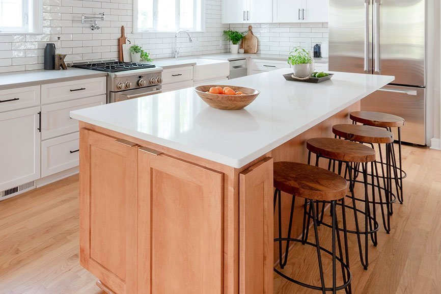 white quartz counters on wood island