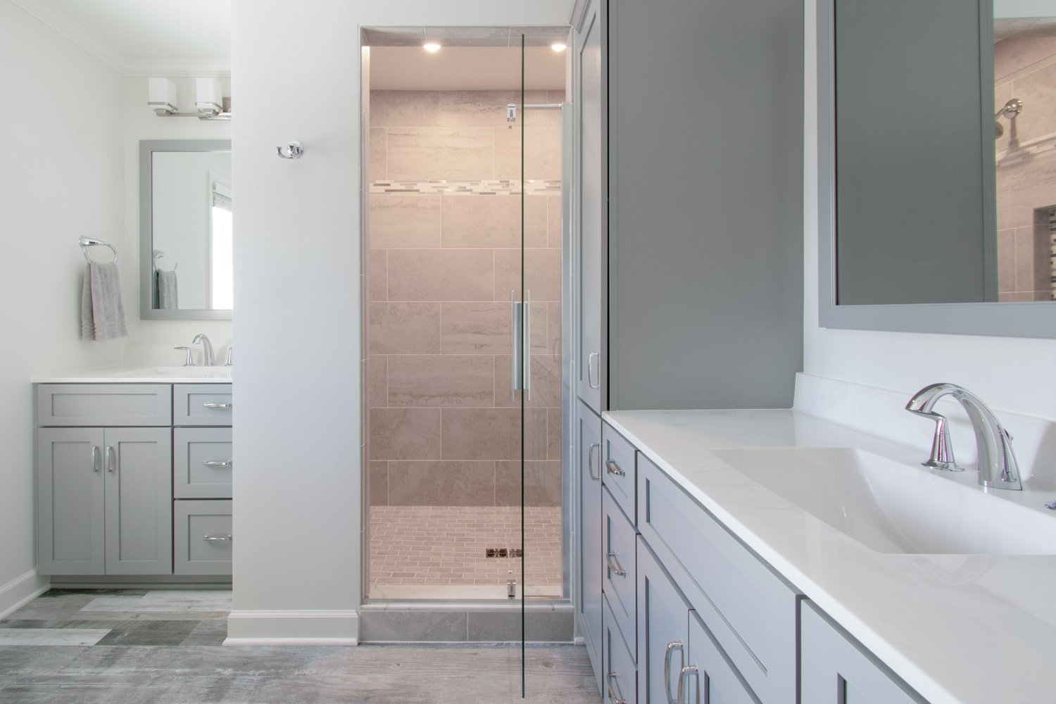master bath remodel with gray cabinets and walk in shower