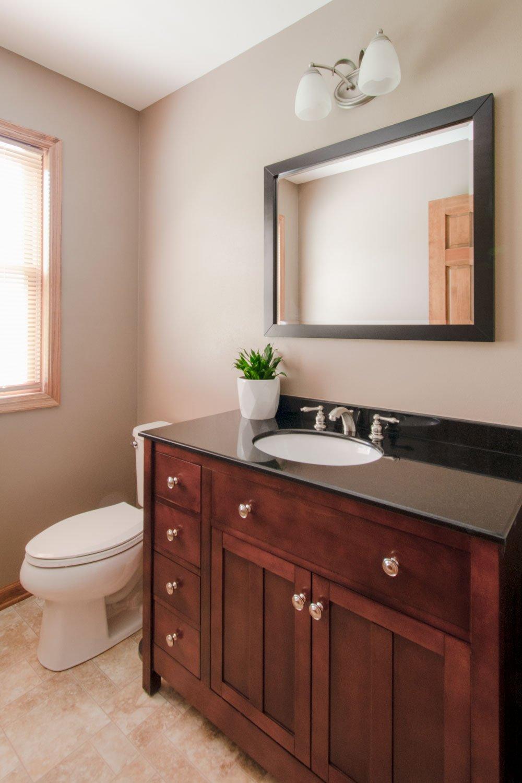 wood bathroom vanity in powder