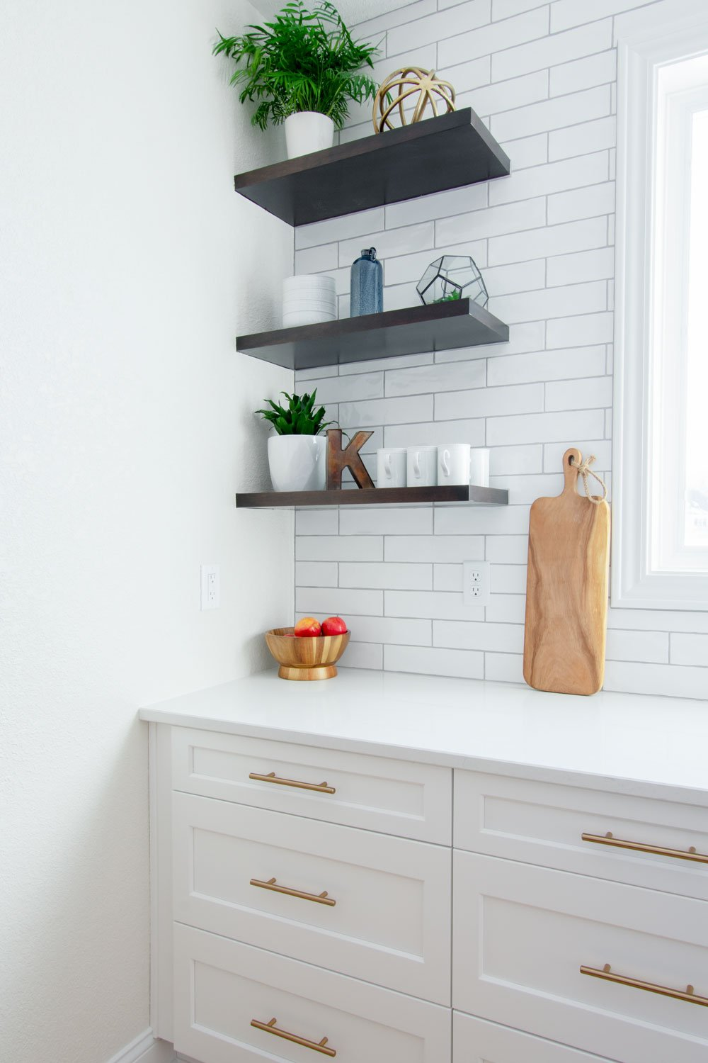 Sussex white kitchen open shelving