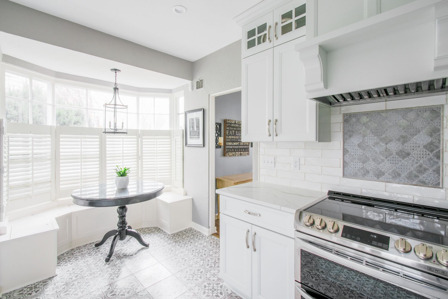 Wauwatosa Traditional White Kitchen Custom Bench