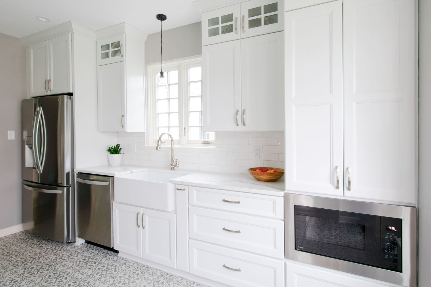 white cabinetry and counters in Wauwatosa home
