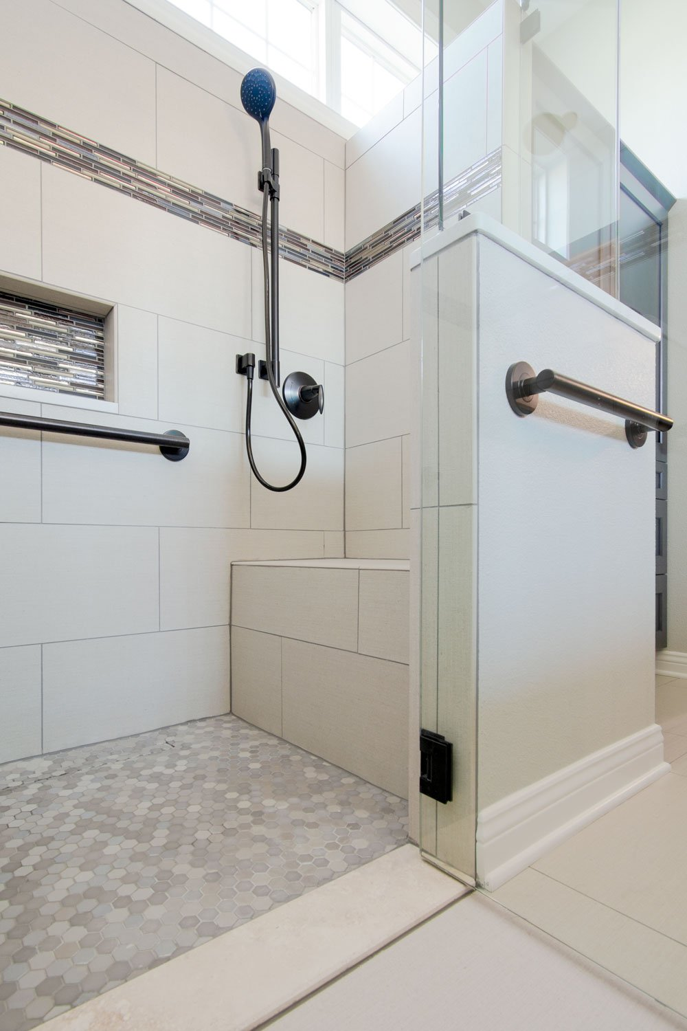 Curbless accessible shower