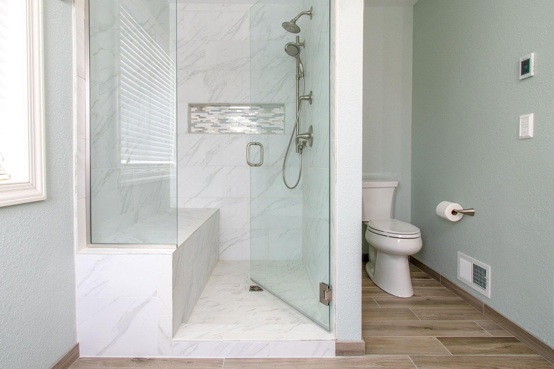Elegant Carrara Marble Shower